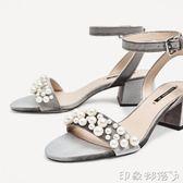 女鞋zar款天鵝絨粗跟一字帶涼鞋露趾圓頭絨面高跟鞋 全館免運