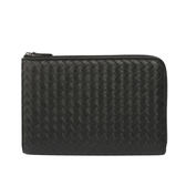 【BOTTEGA VENETA】小羊皮編織L型拉鏈大夾/手拿包(黑色)390057 V001N 1000