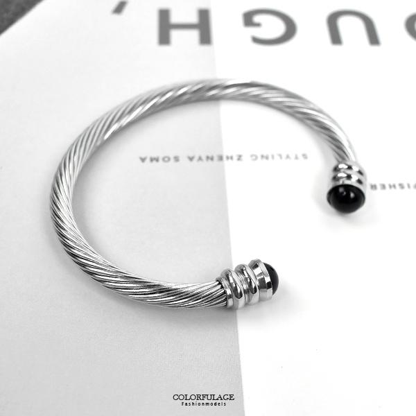 白鋼手環 個性黑珠雙頭鋼索NA503