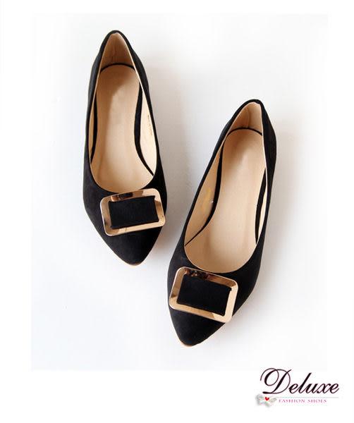 Deluxe-百搭細絨素面飾扣平底包鞋黑