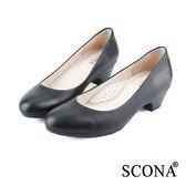 SCONA 全真皮 簡約OL舒壓跟鞋 黑色 9937-1