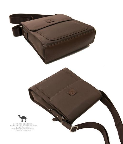 CAMEL - 倫敦品味十字紋防潑水牛皮直立側背包-時尚黑