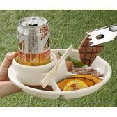 日本製  INOMATA 便利餐盤/兒童餐盤 -單手拿飲料.餐點- 野餐.烤肉.派對聚餐 -白【2089】