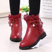 女童靴子冬女孩蕾絲花邊短靴韓版兒童公主靴中大童加絨棉靴兒童鞋 卡米優品