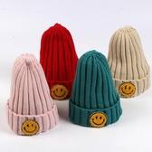 女童帽子 針織帽 兒童笑臉帽保暖時尚帽子甜美毛線冬韓版秋冬潮毛線帽【多多鞋包店】yp04