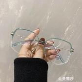 眼鏡女小紅書超輕TR多邊形不規則眼鏡框素顏瘦臉大框眼睛架男 極簡雜貨