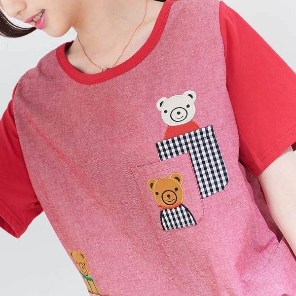 【慢。生活】小熊口袋造型拼接上衣 0208 FREE紅色