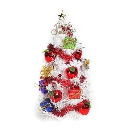 【南紡購物中心】【摩達客】台灣製1尺白色聖誕樹+紅蘋果禮物盒裝飾