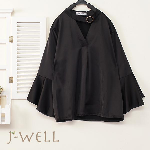 J-WELL 帶環小啦叭袖上衣 (2色) 9J1045