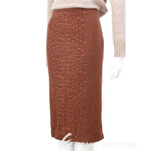 G.I.O.I 亮鑽飾毛料及膝裙(棕色) 0510733-07