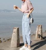 牛仔長褲淺色牛仔褲女夏季新款薄款高腰蘿卜褲寬鬆顯瘦百搭九分束腳褲 全館免運