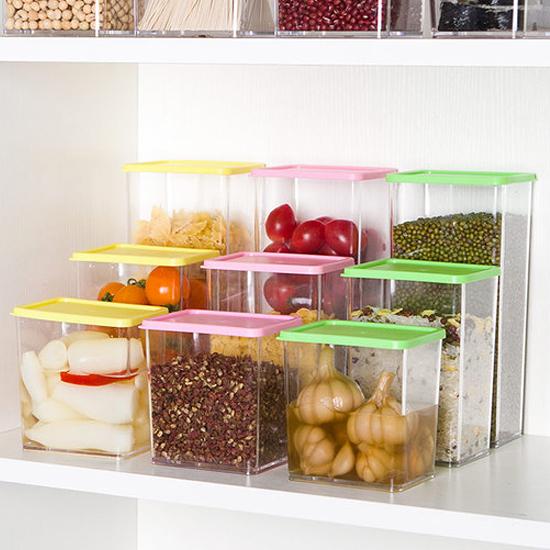彩蓋疊加儲物罐(615ML) 廚房 食物 食品 五穀 雜糧 涼拌 料理 透明【N45】慢思行
