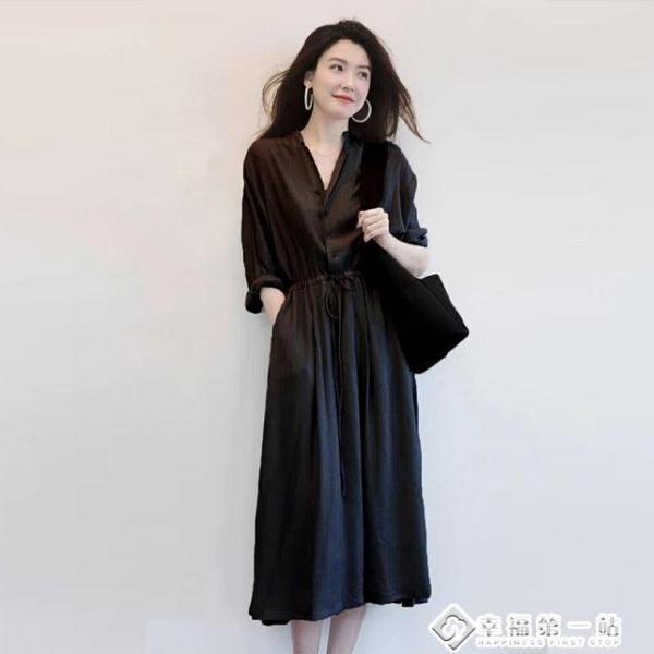 早春輕奢赫本名媛春秋女裝2021年新款小黑裙連衣裙子打底顯瘦長裙 幸福第一站