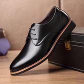 男皮鞋 正裝皮鞋 秋冬男士皮鞋英倫透氣尖頭系帶新款休閒男鞋商務男鞋子《印象精品》q519