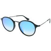 原廠公司貨-【Ray-Ban雷朋】2447F-901/40-49-亞洲版-復古圓框太陽眼鏡(黑框-水銀漸層藍鏡面)