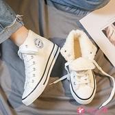 小白鞋 小白鞋子女2021年新款秋冬百搭加絨高幫帆布鞋潮鞋街拍 小天使
