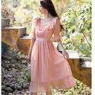 法式荷葉方領光感珍珠雪紡宴會洋裝[99125-QF]美之札
