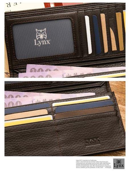 Lynx - 美國山貓紳士軟牛皮款15卡1照經典長夾-質感咖