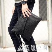 新款韓版男士手拿包商務休閒潮流手抓包潮信封包文件包復古手包 名購居家