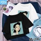 【V2803】shiny藍格子-休閒隨感.女孩印花圓領寬鬆短袖上衣