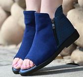 卡樂store..小尺碼大尺碼女鞋真皮平底平跟魚嘴短靴魚嘴靴 2色 40-43 #hn1011