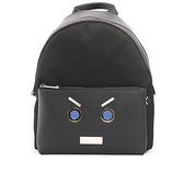 【FENDI】表情圖案皮革+尼龍bag bugs Backpack後背包(黑色) 7VZ012 SHD F0GXN