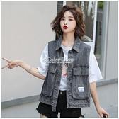 2010年牛仔馬甲外套女季ins學生工裝韓版新款寬鬆無袖背心上衣 快速出貨