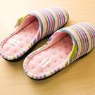 韓系條紋棉絨防滑室內拖鞋(S/M/L)