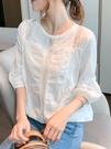 雪紡襯衫短袖上衣女裝2021年春裝新款洋氣燈籠袖襯衣蕾絲花邊上衣 依凡卡時尚