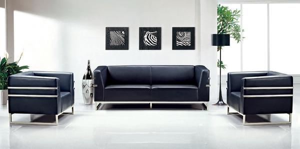 HY-587-8   2074透氣黑皮沙發組-三人沙發-沙發椅腳架-不銹鋼