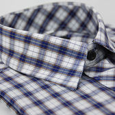 【金‧安德森】藍白格紋橘線短袖襯衫