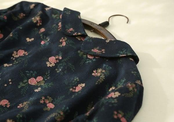 ☆莎lala (5折商品)【E312-0056】日系連身裙-(現)娃娃領滿版碎花綁帶長版上衣(SIZE: M~L)