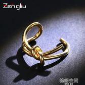 日韓打結開口戒指女鍍彩金色食指環戒子韓國簡約手飾品可調節大小 韓語空間