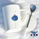 陶瓷馬克杯家用北歐簡約咖啡女帶蓋勺水杯【古怪舍】