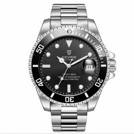 Tevise-白鋼帶黑水鬼 特威斯手錶水鬼系列Tevise男錶女錶 中性錶對錶 3ATM生活防水 時尚手錶