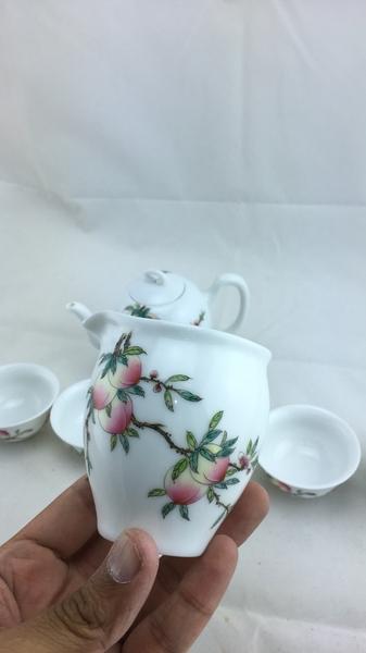 粉彩-壽桃-一壺一海六杯 全祥茶莊