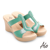 A.S.O 挺麗氣墊 全真皮寬楦圖騰氣墊楔型涼拖鞋  綠