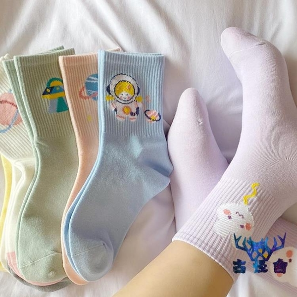 5雙裝 襪子女中筒襪純棉秋冬日系卡通中厚長筒襪【古怪舍】