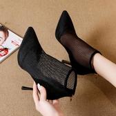 尖頭靴 仙女網紅涼鞋女網紗性感尖頭細跟高跟鞋2020夏季新款羅馬鏤空涼靴 阿卡娜