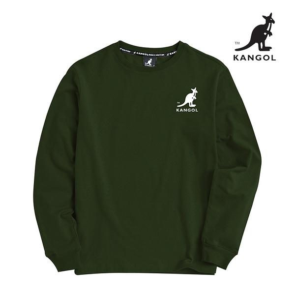 KANGOL 袋鼠 - 左胸刺繡中袋鼠大學T 軍綠【60551036】