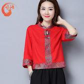 夏裝新款民族風女裝改良唐裝復古漢服上衣半袖中國風少數名族服裝