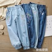 女童牛仔純棉防蚊褲春夏季薄款兒童裝大童女孩寬鬆燈籠長褲子夏天『蜜桃時尚』