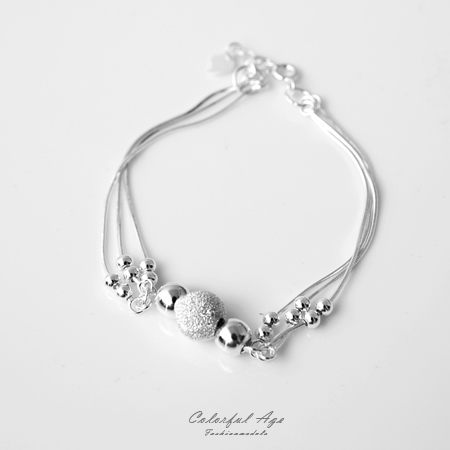 手鍊 典雅磨砂圓珠設計925純銀細緻手環 滑動式串珠層次 氣質女孩 柒彩年代【NPA3】
