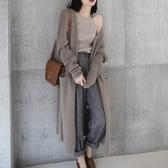 初心 韓系外套 【C5351】 開襟 長袖 針織毛衣 針織衫 長版毛衣 針織外套