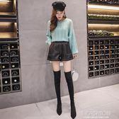 2019春夏裝皮褲PU新款短褲女高腰靴褲胖mm大碼闊腿褲鬆緊腰-Ifashion