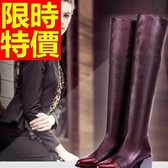 過膝馬靴-氣質繽紛皮革女長靴62l34【巴黎精品】