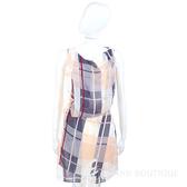 SEE BY CHLOE 米灰色格紋拼接側綁帶雪紡無袖洋裝(附內裡) 1320297-06