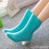防水高跟雨鞋女時尚中筒雨靴女士雨鞋韓版防滑水靴可加絨膠鞋 美芭