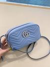 ■現貨在台■專櫃83折■ Gucci GG Marmont 447632 中款小牛皮相機包 淺藍色