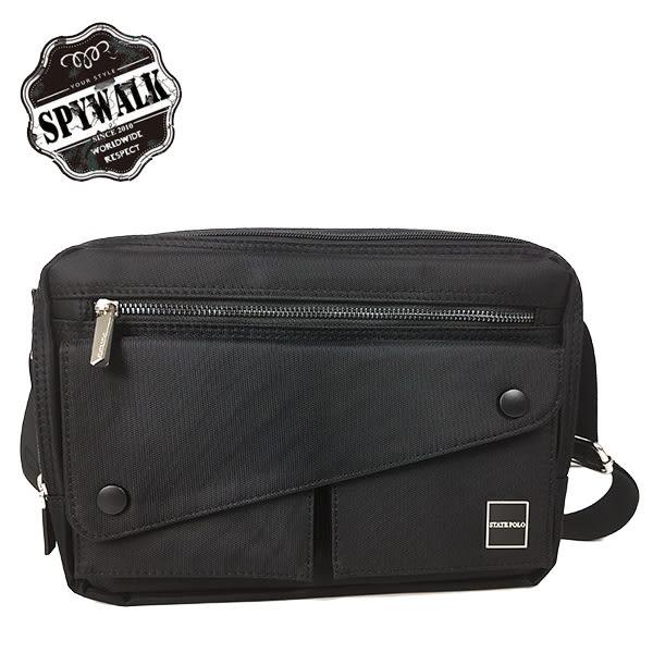 側背包 SPYWALK型男素色橫式磁扣掛包 男包 NO:1763(大)